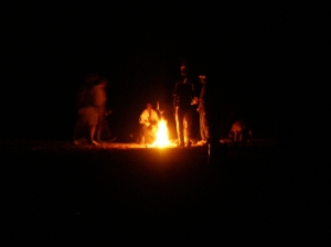 A Fire at Night in a Kunene Village About 60km From Opuwo
