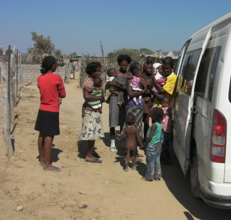 Queue for immunisations for Mobile Team One, Kunene Namibia National Immunisation Days 2011 Round One